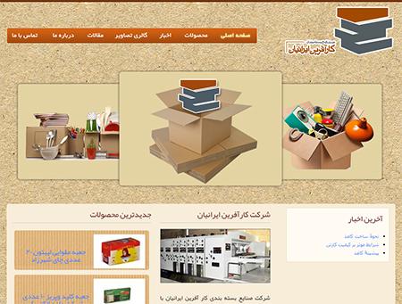 طراحی وب سایت شرکت کارتن کارآفرینان